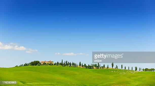 farmhouse in tuscany landscape - val d'orcia stock pictures, royalty-free photos & images