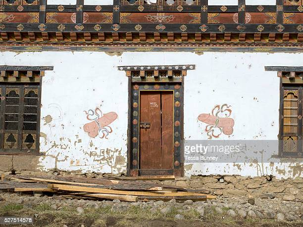 A farmhouse In Yangthang village in the Haa valley Western Bhutan A typical Bhutanese house is two storeys high with a large airy attic used for...