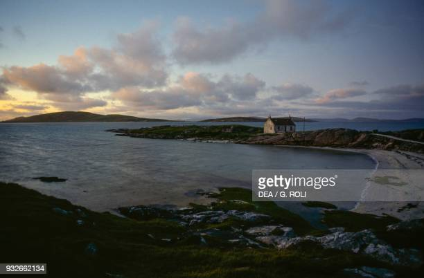 Farmhouse on a spit of land Barra island Outer Hebrides Scotland United Kingdom