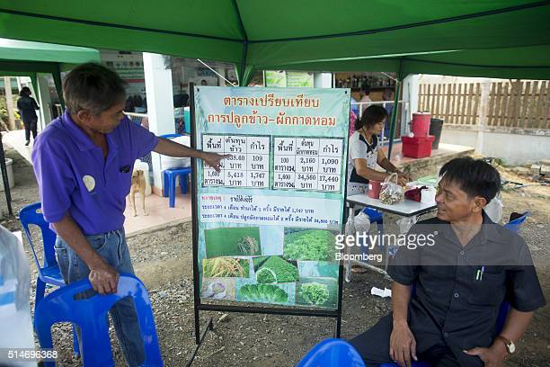 Farming ministry workers show an infographic illustrating cost comparisons of planting rice and planting vegetables at a governmentfunded training...
