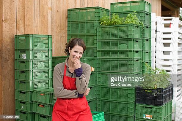 farming vegetables and fruits - holzkiste stock-fotos und bilder