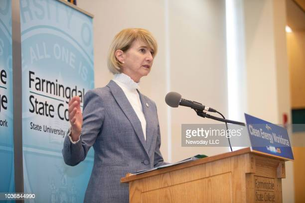 SUNY Chancellor Kristina Johnson speaks at Farmingdale State College in Farmingdale on September 4 2018