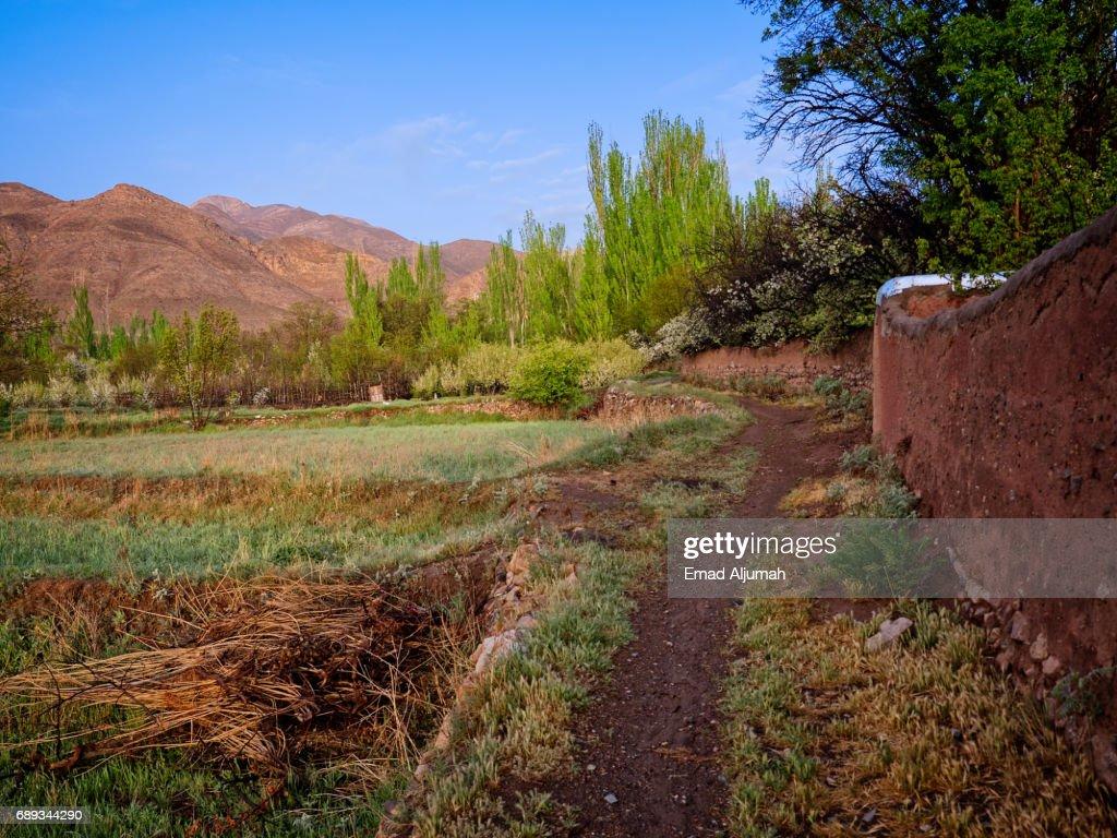 Farmland around Abyaneh Village, Iran - 28 April 2017 : Stock Photo
