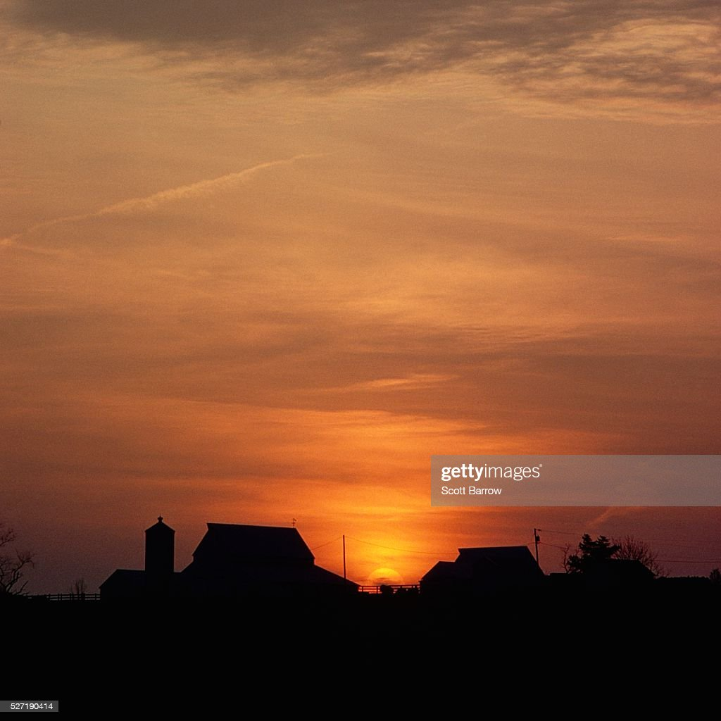 Farmland at dusk : Stock Photo