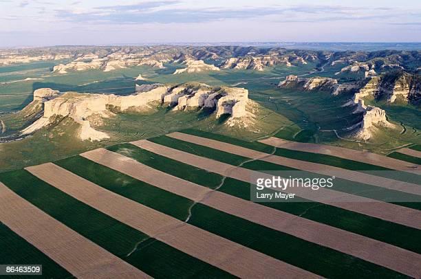 Farmland by mountains in Nebraska