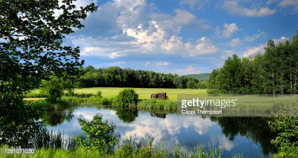 farmland near bethel, maine usa with small pond, tractor, and beautiful meadow in the countryside - north america stock pictures, royalty-free photos & images