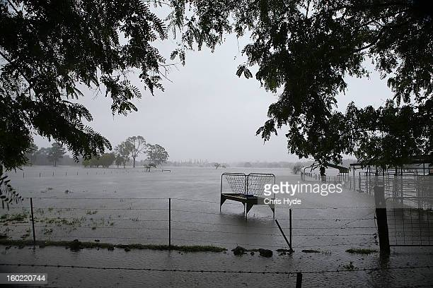 Farms in Carrara flood as Queensland experiences severe rains and flooding from Tropical Cyclone Oswald on January 28 2013 in Gold Coast Australia...