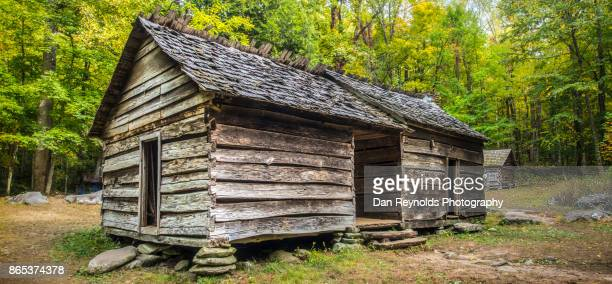 farmstead-pano, great smoky mountains, gatlinburg, tennessee, usa - cades cove stock pictures, royalty-free photos & images