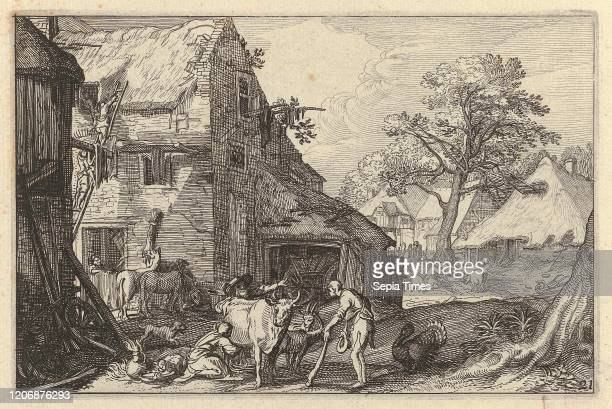 Farmyard with people and livestock, Claes Jansz. Visscher , Abraham Bloemaert, Jan Saenredam, 1620.