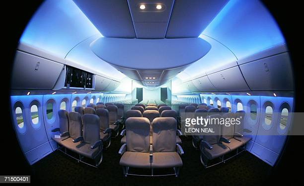 A mockup of the interior of the Boeing 777 Dreamliner is displayed at the Farnborough Air Show Britain 22 July 2006 As predicted the show has been...