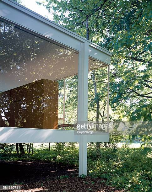 Farnsworth House designed and constructed by modernist architect Ludwig Mies van der Rohe between 1945 and 1951 in Plano Illinois