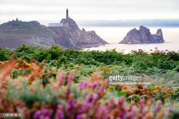 faro cabo vilano (cape vilan lighthouse) at sunset, galicia, spain. - francesco riccardo iacomino spain foto e immagini stock