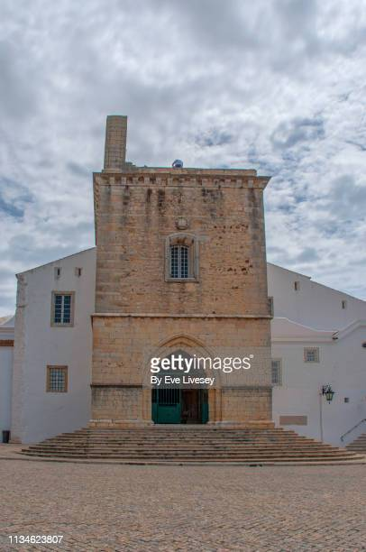 faro cathedral entrance - faro city portugal stock photos and pictures