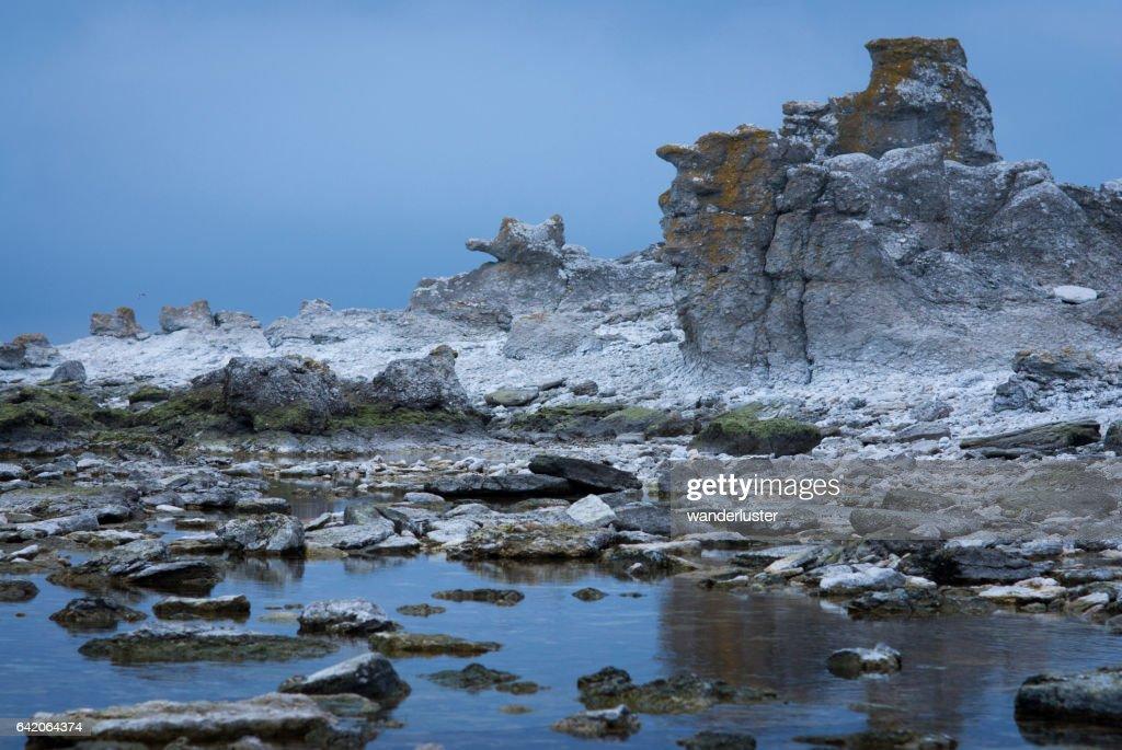 Faro Island rocky shore : Stock Photo
