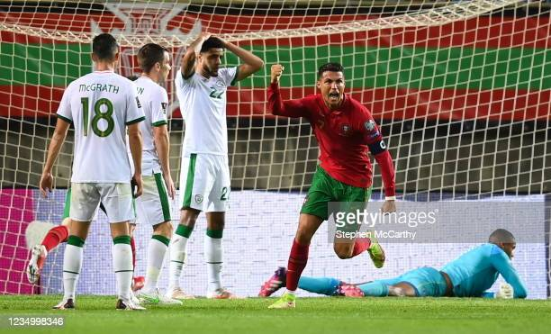 Faro , Portugal - 1 September 2021; Cristiano Ronaldo of Portugal celebrates after scoring his side's first goal during the FIFA World Cup 2022...