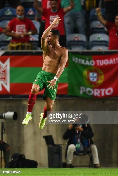 Faro , Portugal - 1 September 2021; Cristiano Ronaldo of Portugal celebrates after scoring his side's second goal during the FIFA World Cup 2022...