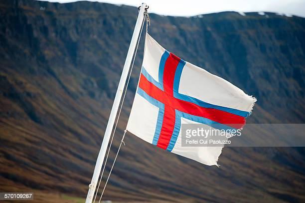 Faroe islands flag at Seydisfjordur Iceland