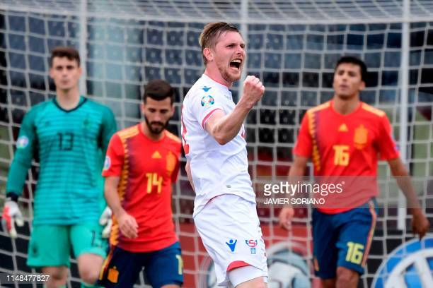 Faroe Islands' forward Klaemint Olsen celebrates after scoring during the UEFA Euro 2020 group F qualifying football match between Faroe Islands and...