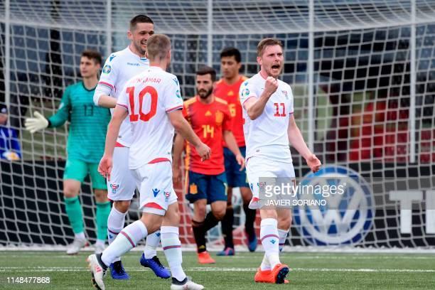 Faroe Islands' forward Klaemint Olsen celebrates after scoring during the UEFA Euro 2020 group F qualifying football match between Faroe Islands and...