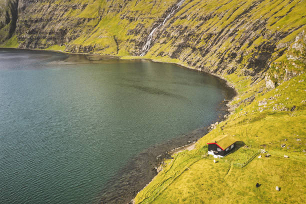 Faroe Islands Saksun Fjord Lagoon Grass Covered Roof House Aerial View