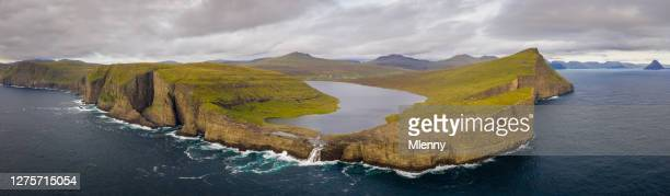 faroe islands sorvagsvatn lake aerial panorama vagar island - geology stock pictures, royalty-free photos & images