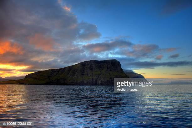 Faroe Islands, sunset over North Atlantic Ocean