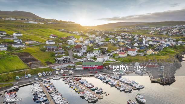 faroe islands tórshavn marina sunset panorama torshavn streymoy island - passenger craft stock pictures, royalty-free photos & images
