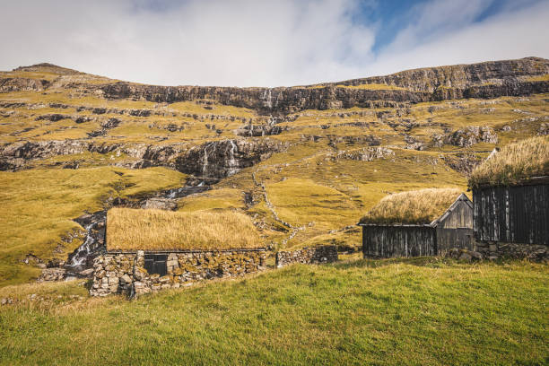 Faroe Islands Village of Saksun Grass Thatched Roof Stone Houses
