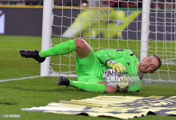 Faroe Islands's goalkeeper Gunnar Nielsen saves the ball during the FIFA World Cup Qatar 2022 qualification football match Austria vs Faroe Islands...