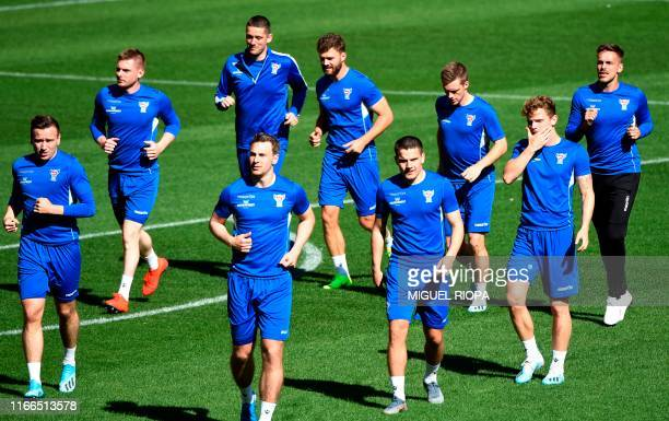 Faroes' players attend a training session at El Molinon stadium in Gijon on September 7 on the eve of the UEFA Euro 2020 qualifier Group F football...