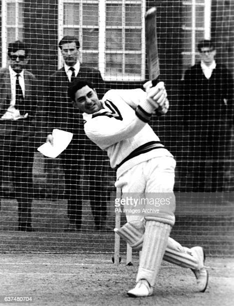 Farokh Engineer batting in the nets at Lord's