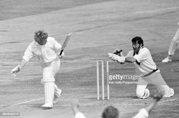 Farokh Engineer of Lancashire attempts to stump Warwickshire batsman John Whitehouse during the Gillette Cup Semi Final between Warwickshire and...