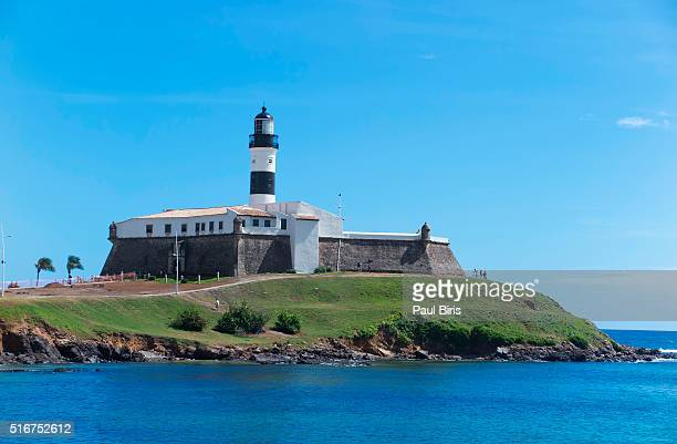 farol da barra lighthouse, in salvador,  bahia, brazil - バーラ地区 ストックフォトと画像