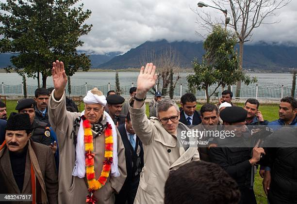 Farooq Abdullah a minister in the Indian government and patron of the proIndia National Conference party and a contesting candidate along with his...