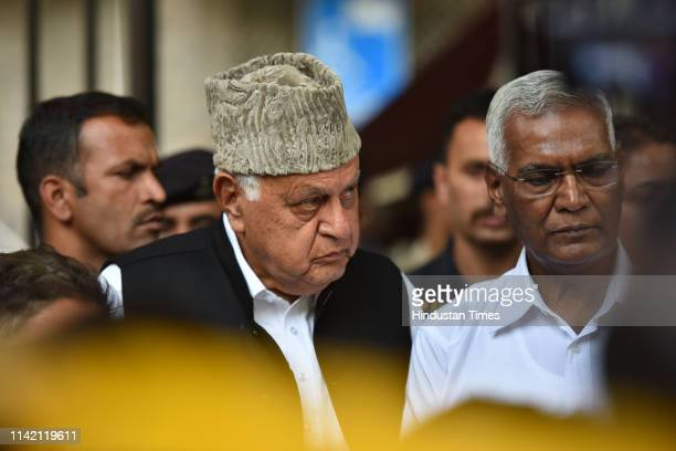 Farooq Abdullah, former CM of Jammu and Kashmir along with Doraisamy Raja, Senior leader Communist Party of India address the media after meeting...