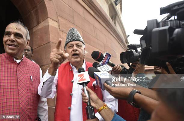 Farooq Abdullah, former CM of Jammu and Kashmir, talking to media about the killing of Abu Dozana during the monsoon session of the Parliament, at...