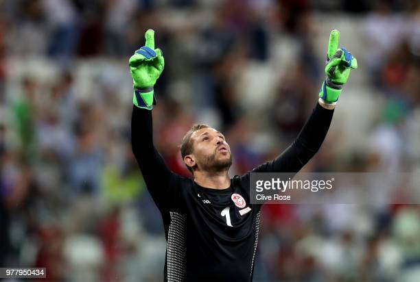 Farouk Ben Mustapha of Tunisia celebrate following his team'a first goal during the 2018 FIFA World Cup Russia group G match between Tunisia and...
