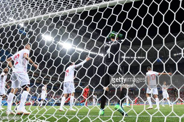 Farouk Ben Mustapha of Tunisia shows his dejection following England's second goal during the 2018 FIFA World Cup Russia group G match between...