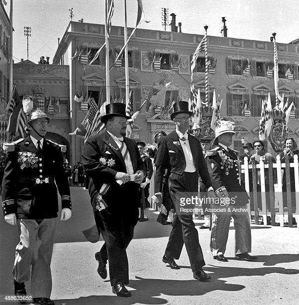 Farouk I King of Egypt and Sudan in ceremony dress heading to Saint Nicholas Cathedral where Rainier III Prince of Monaco and American actress Grace...
