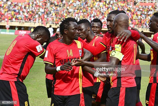 Farouk Miya of Uganda celebrates after scoring a goal during the 2018 World Cup qualifying Group E football match between Uganda and Congo at the...