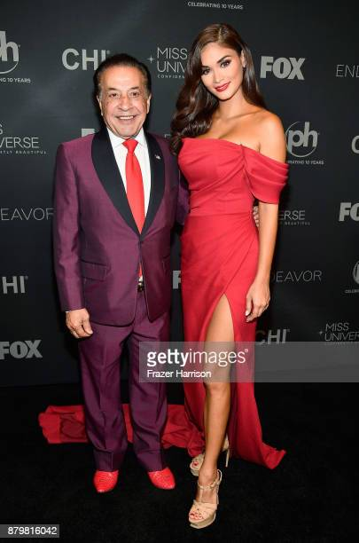 Farouk Systems founder Farouk Shami and Miss Universe 2015 and pageant judge Pia Alonzo Wurtzbach attend the 2017 Miss Universe Pageant at Planet...