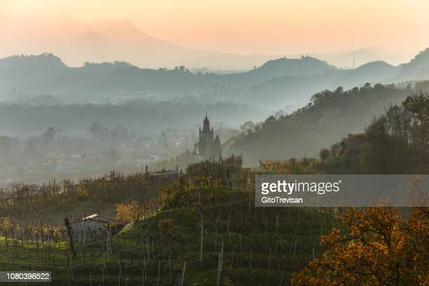farra di soligo (tv) - sunset and fog on the prosecco vineyards, 2 - véneto imagens e fotografias de stock