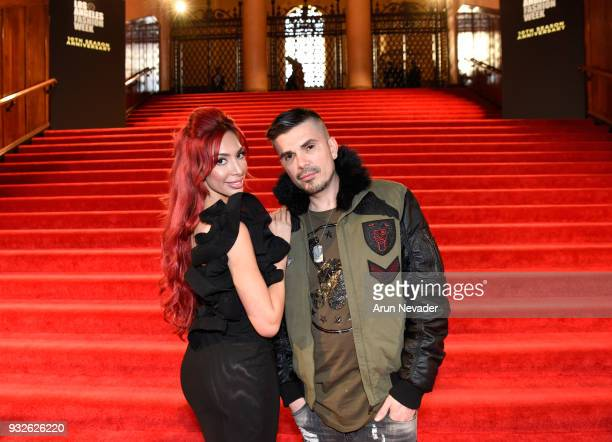 Farrah Abraham and designer/producer Erik Rosete attend Los Angeles Fashion Week Powered by Art Hearts Fashion LAFW FW/18 10th Season Anniversary...