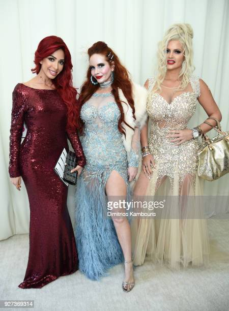 Farrah Abraham Phoebe Price and Sophia Vegas Wollersheim attend the 26th annual Elton John AIDS Foundation Academy Awards Viewing Party sponsored by...
