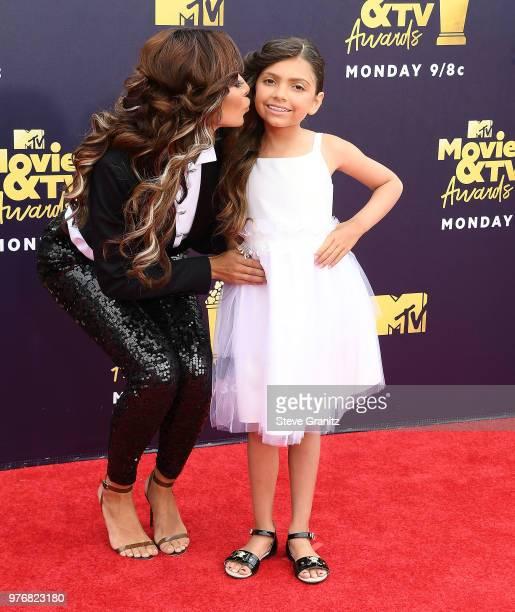 Farrah Abraham Sophia Abraham arrives at the 2018 MTV Movie And TV Awards at Barker Hangar on June 16 2018 in Santa Monica California