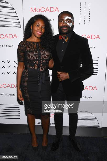 Farrah Desir and Abiola Oke attend the MoCADA 3rd Annual Masquerade Ball at Brooklyn Academy of Music on October 25 2017 in New York City
