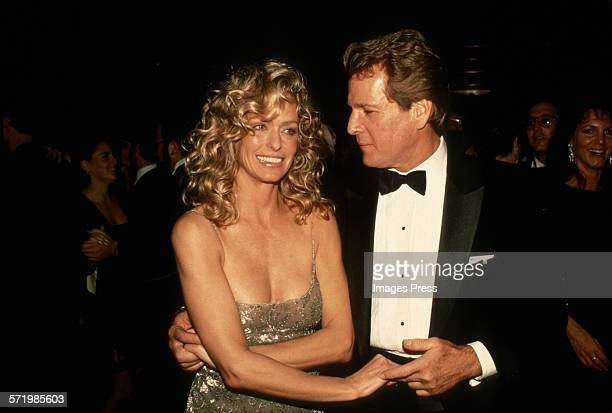 Farrah Fawcett and Ryan O'Neal attend the New York Premiere of Chances Are circa 1989 in New York City