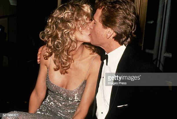 Farrah Fawcett and Ryan O'Neal attend the New York Premiere of 'Chances Are' circa 1989 in New York City
