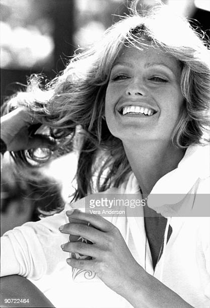 Farrah Fawcett attends a celebrity tennis match circa 1970s in Palm Springs California