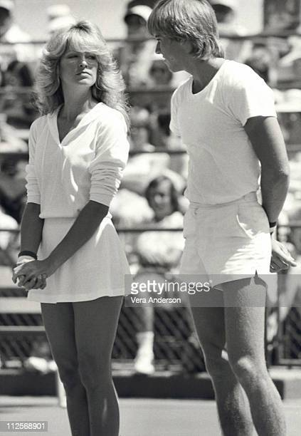Farrah Fawcett attends a celebrity tennis match with Vince Van Patten circa 1978 in Palm Springs California